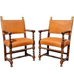 Pair of Italian Baroque Walnut Armchairs