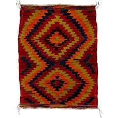 20th Century Hand-Knotted Wool Konya Kilim Orange Brown Turkish Anatolian Rug