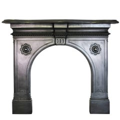 Restored Antique Mid-Victorian Cast Iron Fire Surround
