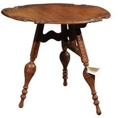 Art Nouveau Tilt-Top Oak Table from France
