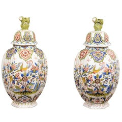 Pair of 19th Century Faience Jars with Lids from Devres, France