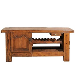Antique French Work Bench with Wine Rack and Cabinet, circa 1860