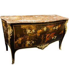 Louis XV Style Marble-Top Mounted Chinese Lacquer and Japanned Commode