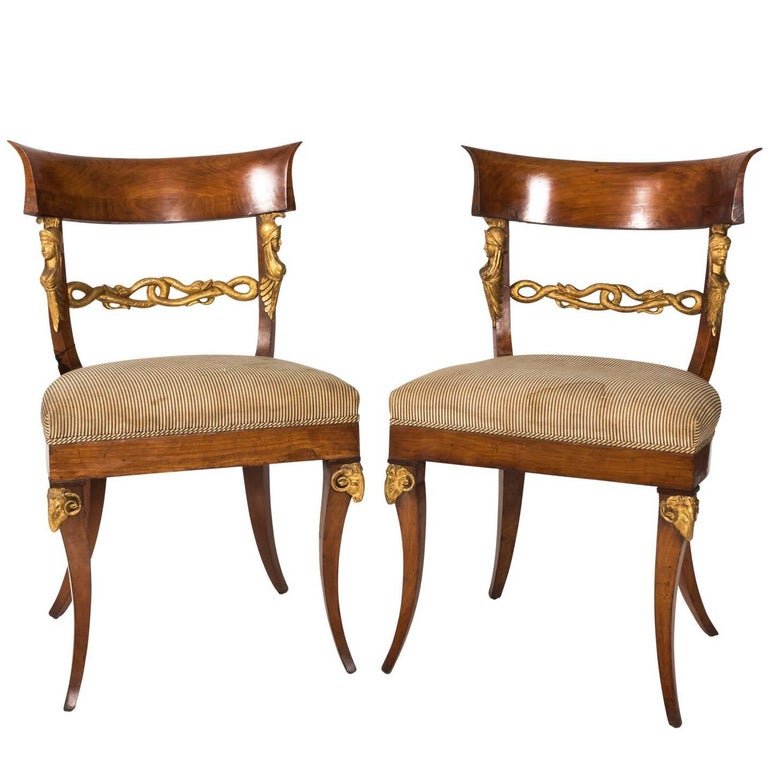 Pair of Austrian Empire Style Side Chairs