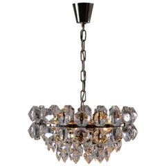Hand-Cut Crystal-Glass Stones Chandelier by Woka Lamps, Vienna, 1960