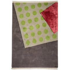 """Green Dots"" Hand-Knotted Wool Rug by Carpets CC"