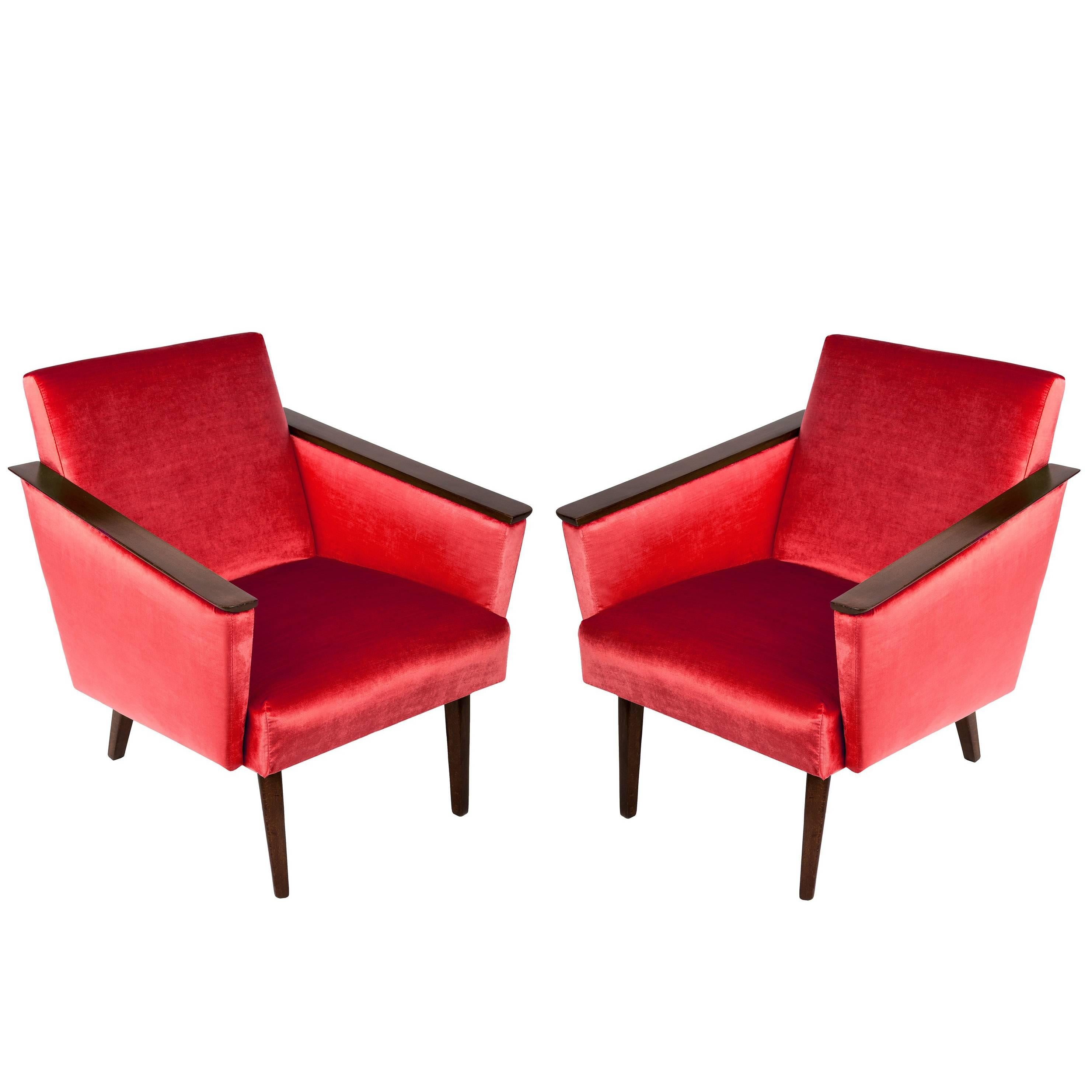 Superior Pair Of Red Armchairs, 1960s, DDR, Germany For Sale