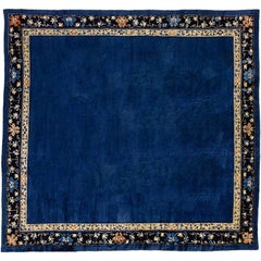 20th Century Peking Chinese Wool Rug Empty Field Blu with Flower Border