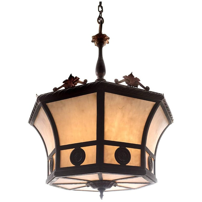 Elegant Formal Eight-Panel Curved Glass Chandelier
