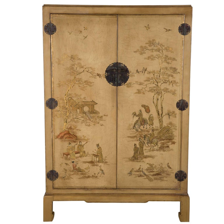 1940s Chinoiserie Decorated Cabinet