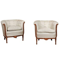 Pair of French 19th Century Wooden Club Chairs with Banded Inlay and Upholstery
