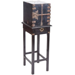 Unusual Antique Lacquered Cabinet on Stand