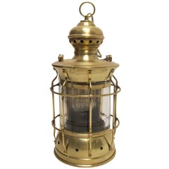 Antique Brass and Glass Lantern Lamp
