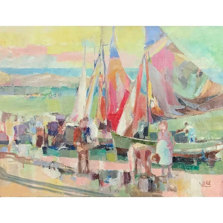 "Albert Coll ""Port de Peche"" Impressionist Oil Painting, 1950s"