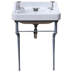 Early 20th Century English Basin on Cast Iron Stand