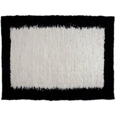 Large Sheepskin Hide, Carpet or Tapestry in White and Black Wool Rug