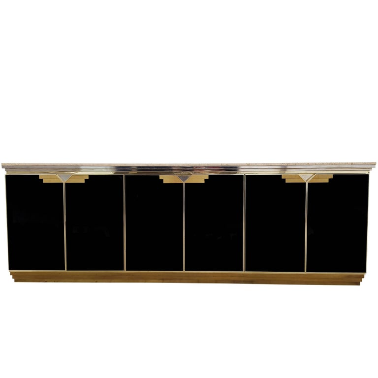 Black Mirror Glass, Maison Jansen Credenza