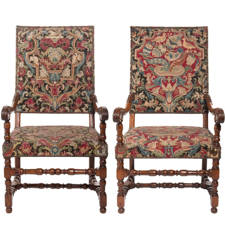Pair of Superb Walnut Needlepoint Louis XIV Armchairs