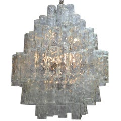 Huge Seven-Tier Italian Crystal and Chrome Chandelier