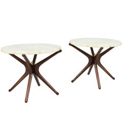 Midcentury Travertine Top Side Tables with Sculpted Jax Style Bases