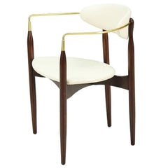 "Dan Johnson ""Viscount"" Brass Accent Armchair for Selig"