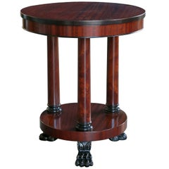 Handsome American Classical Style Circular Ribbon-Mahogany Gueridon/Side Table