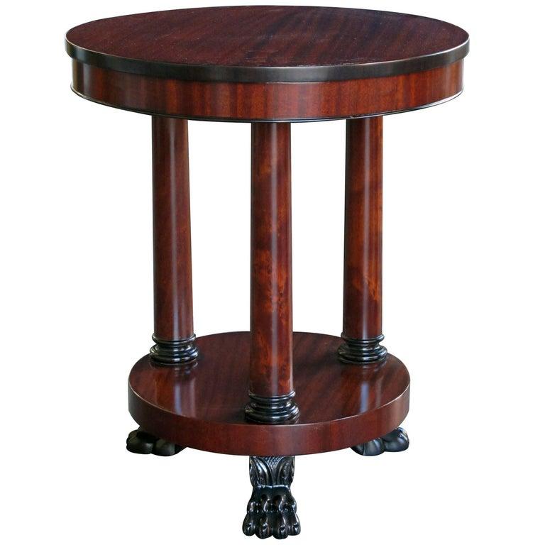 Handsome American Classical Style Circular Ribbon-Mahogany Gueridon/Side Table