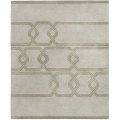 Contemporary Tibetan Rug Hand-Knotted in Nepal, Light Grey - Green Brown