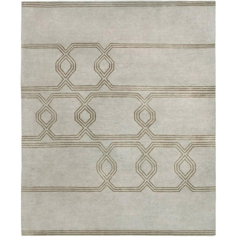 Contemporary Tibetan Rug Hand Knotted In Nepal Light Grey Green Brown