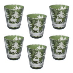 Black Forest Set of Six German Green Tumblers with Hunting Scene Sofina Boutique