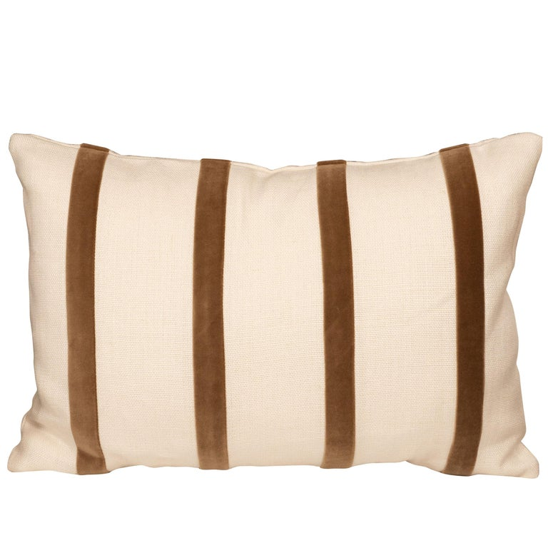 White Linen Pillow with Brown Velvet Stripe For Sale