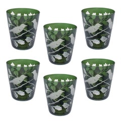 Modern German Set of Six Glass Tumbler in Green with Birds Sofina Kitzbuehel