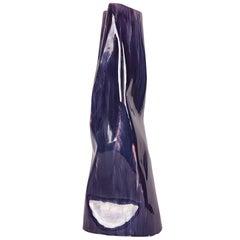 Large Informal Italian 1960s Violet Glazed Ceramic Vase Signed Neni Costa