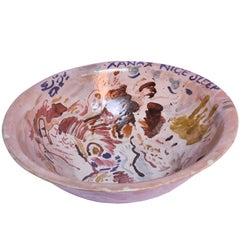 Contemporary Ceramic Colorful Bowl Majolica Pottery Handmade Clay