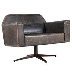 Elephant Grey Leather Swivel Lounge Chairs