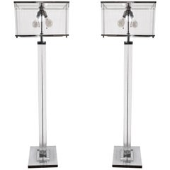 "Pair of Charles Hollis Jones ""Edison"" Floor Lamps in Lucite and Polished Nickel"