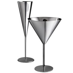 Millenium Set of Champagne Flute and Martini Glass by Lella and Massimo Vignelli