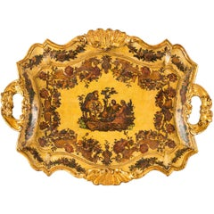 Tray in Shaped, Lacquered and Painted Wood with Applied Molds, Venice