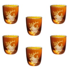 Set of Six Black Forest Schnapps Glasses Amber German with Hunting Scene Sofina