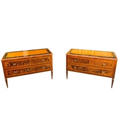 """Pair of Inlaid Chest of Drawers Decorated with """"Chinoiseries"""", Lombardy"""