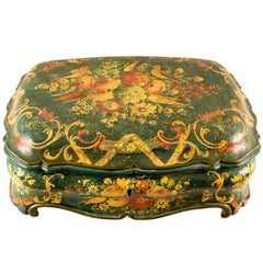 Lacquered Shaped Box with Floral and Birds Decorations, Venice, 18th Century