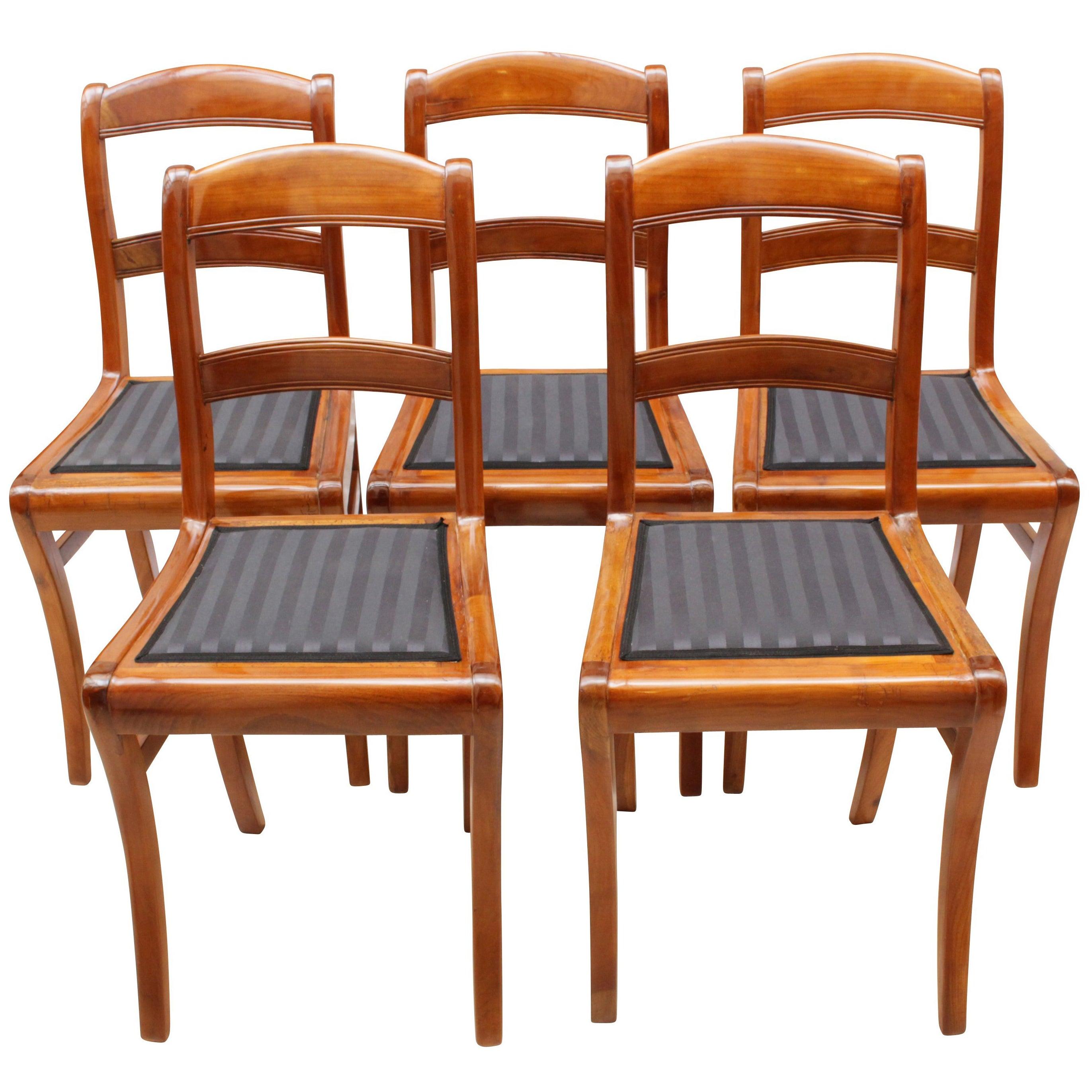 19th Century, Set of Five Solid Cherry Biedermeier Chairs