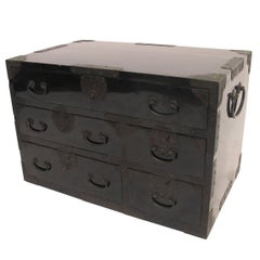 Black Lacquer Tansu Chest Cabinet, Japanese Meiji Period