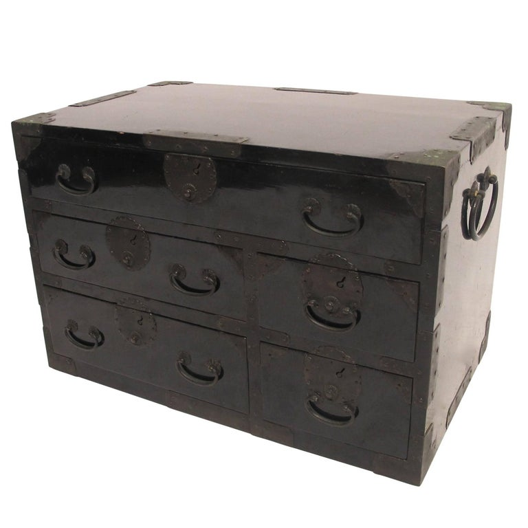 Black Lacquer Tansu Chest Cabinet, Japanese Meiji Period