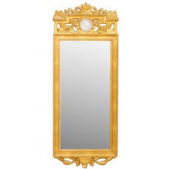 Swedish Neoclassical Style Antique Ornate Gilt Tall Trumeau Mirror