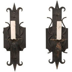 Pair of French Mid-20th Century Vintage One-Light Iron Sconces