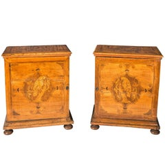 "Pair of Walnut Cabinets, Inlaid with Motifs Depicting ""Parrots,"" Venice"