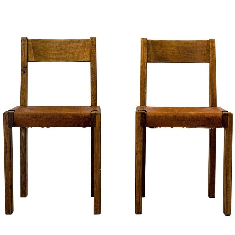 Pair of Pierre Chapo Midcentury Elmwood and Leather French Chairs, 1960s