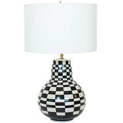 "Vintage Italian ""Checkerboard"" Ceramic Table Lamp, circa 1975"