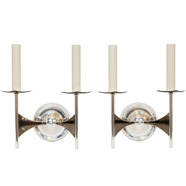 Pair of Modernist Wall Sconces Attributed to Tommi Parzinger For Sale